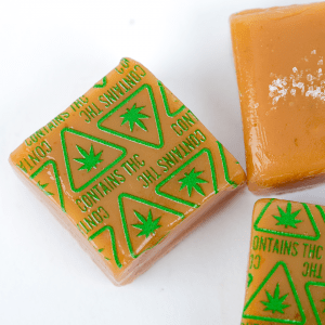 Caramels with THC Massachusetts Universal Symbol High Heat Transfers