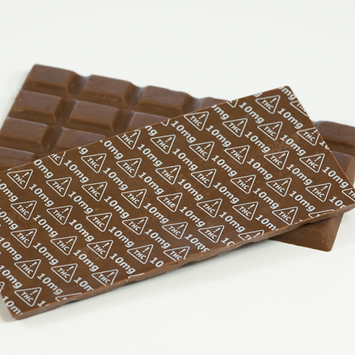 Chocolate Bar marked with Nevada 10mg THC Symbol