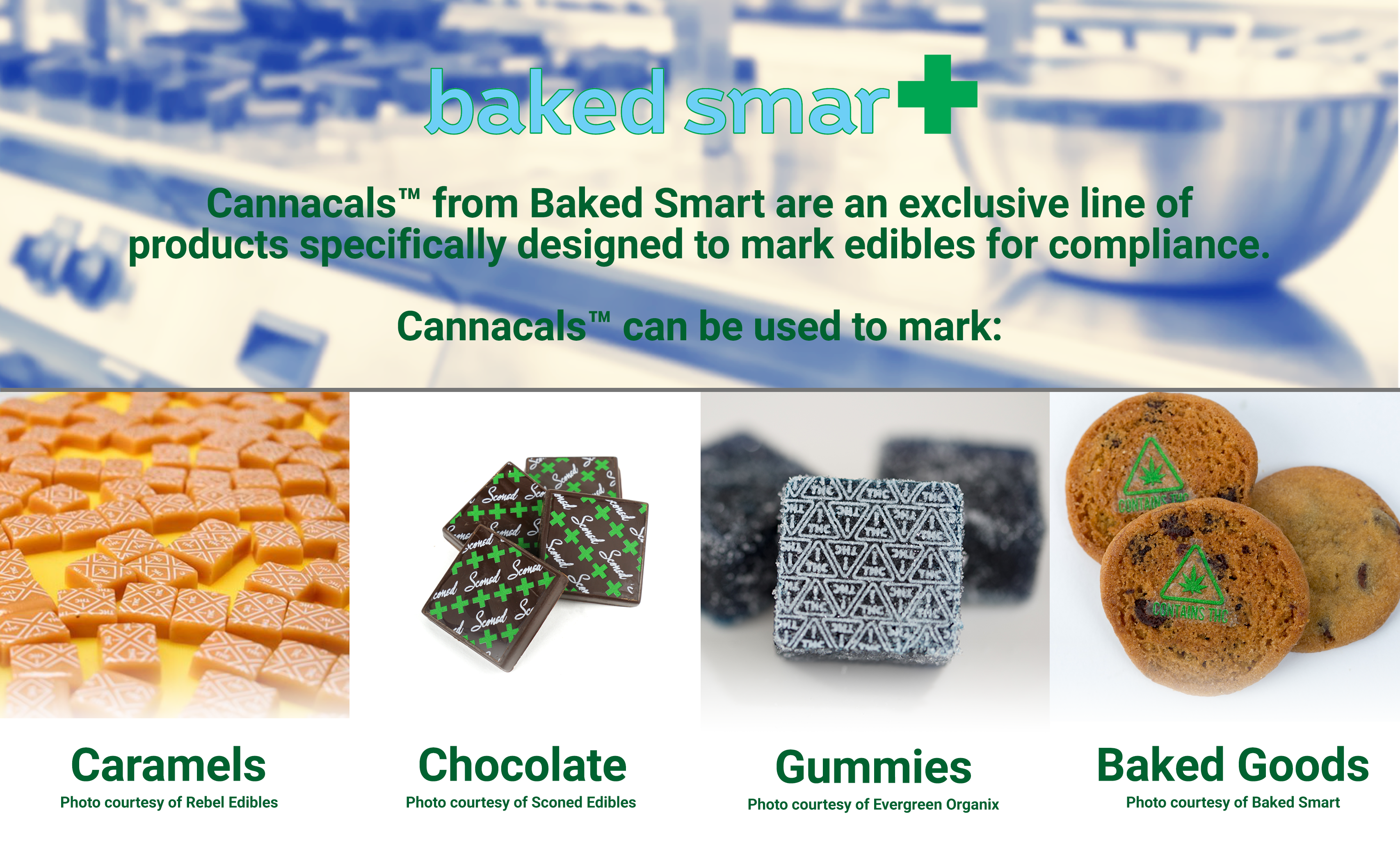 cannabis edibles marked with cannacals thc and green cross symbols