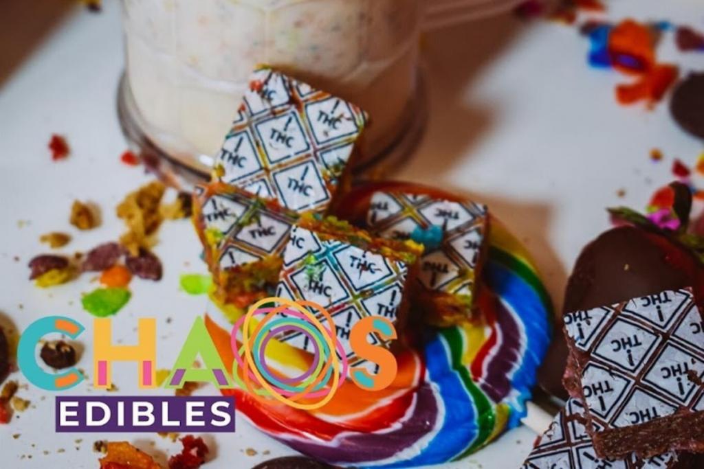 chaos edibles logo next to rice crispies with white thc symbols