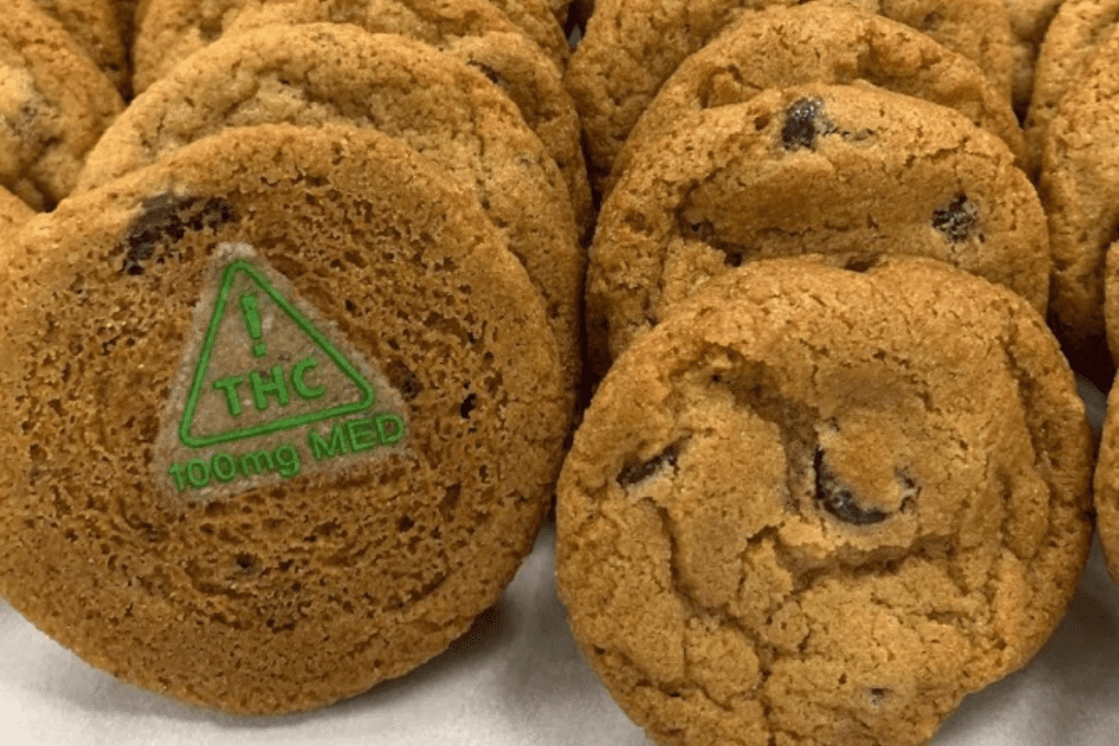 cookies with green nevada thc symbol on the front
