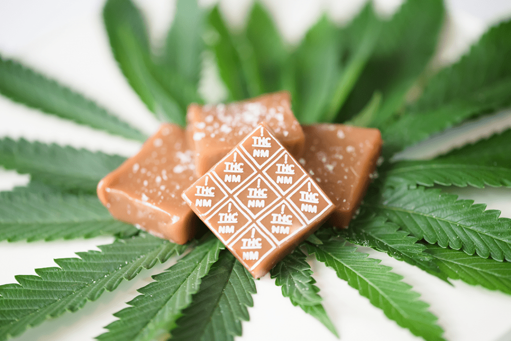 New Mexico THC symbol high heat transfers on caramels with cannabis leaves