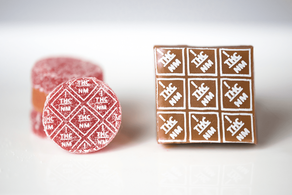 New Mexico THC symbol high heat transfers on gummies and caramels
