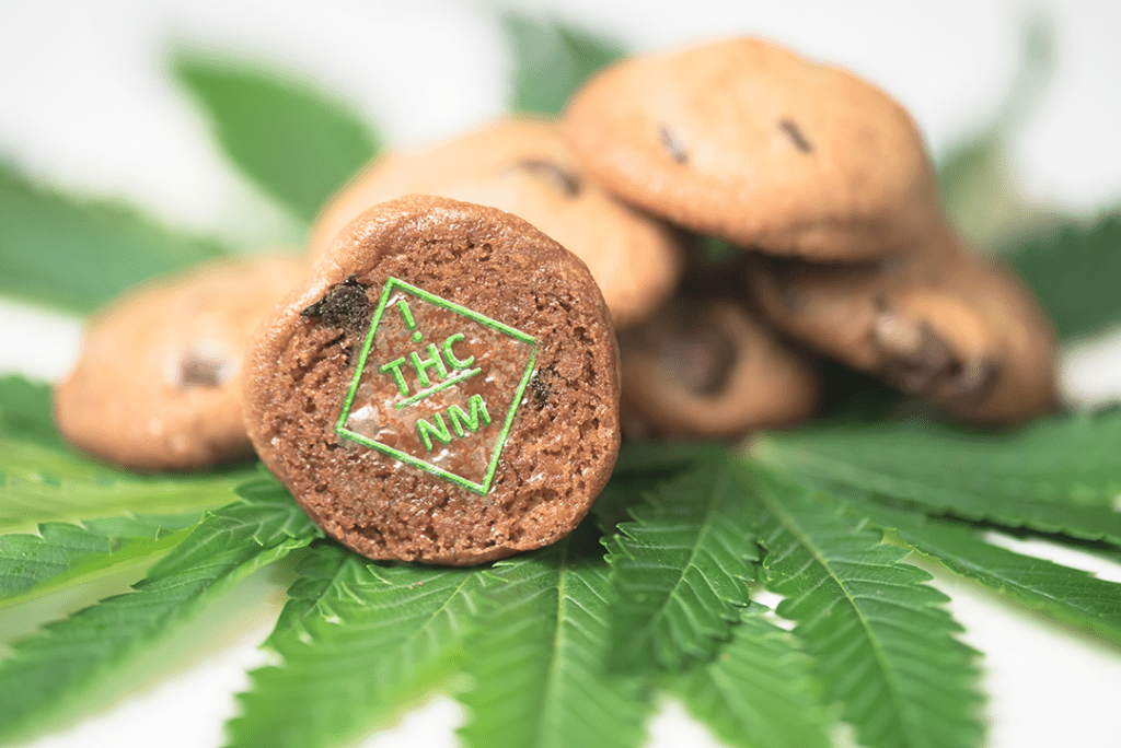New Mexico THC symbol target on cookies with cannabis leaves